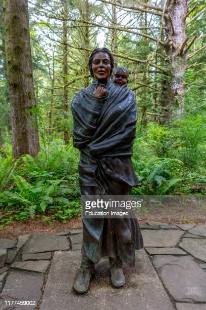 Statue of Sacajawea at Historic Fort Clatsop Oregon site of the Lewis and Clark Expedition 18041806 outside of Astoria Oregon