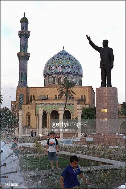 A statue of Saddam Hussein unveiled during the celebration of his 65th birthday in Baghdad Iraq in June 2002