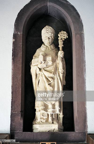 Statue of Saint David St David's Cathedral Saint David's Wales United Kingdom