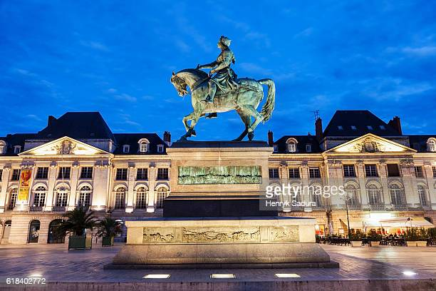 statue of saint joan of arc in orleans - st. joan of arc stock photos and pictures