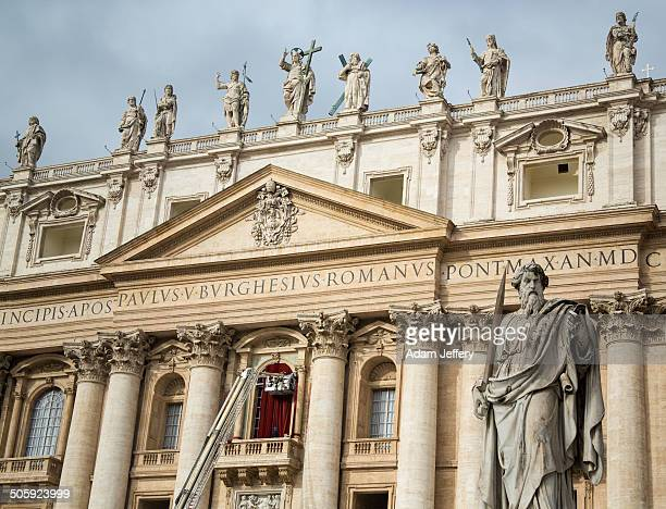 CONTENT] Statue of Saint Paul by Giuseppe De Fabris 1840 in front of St Peters Basilica