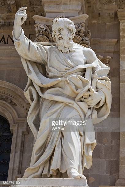 Statue of Saint Paul outside Syracuse Cathedral Piazza Duomo Ortygia Syracuse Sicily Italy