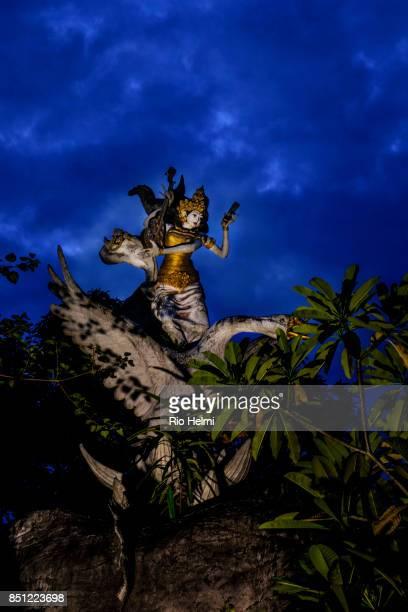 TENGKULAK MAS BALI INDONESIA A statue of Saraswati goddess of wisdom arts and learning in the village of Tengkulak near Mas