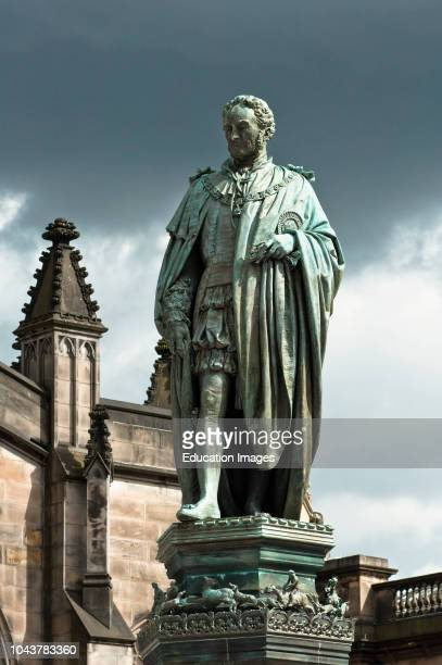 Statue of Scottish economist Adam Smith in front of St Giles Cathedral Royal Mile Edinburgh Scotland