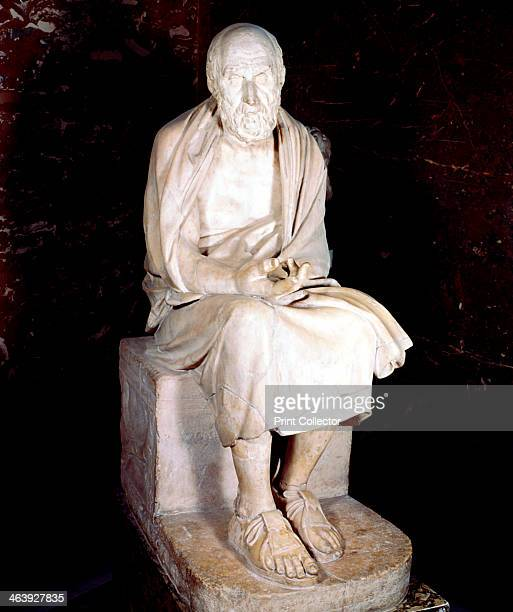 Statue of seated man said to be Herodotus, Ancient Greek historian. Herodotus is often called the 'Father of History'.