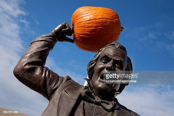 Statue of Senator Stephen Douglas and pumpkin who debated Abraham Lincoln in 1858 historic slavery debates Alton IL