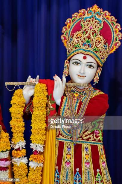 Statue of shri Krishna, Swaminarayan temple, BAPS, Gondal, Rajkot district, Saurashtra, Gujarat, India