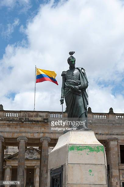 Statue of Simon Bolivar in front of Congress building on Plaza de Bolivar in La Candelaria, the old town of Bogota, Colombia.
