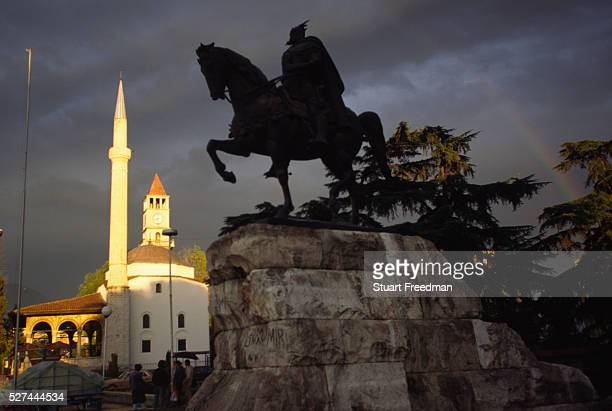 Statue of Skanderbeg, Skanderbeg Square, Tirana, Albania. Gjergj Kastrioti Skanderbeg is an Albanian national hero, credited with repelling the...