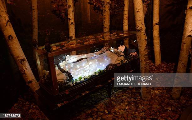 A statue of Snow White is on display at the The Power of Poison exhibition during a preview at the American Museum of Natural History in New York...