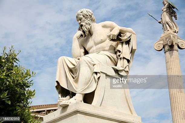 statue of socrates, the philosopher, with sky in distance - classical greek style stock pictures, royalty-free photos & images
