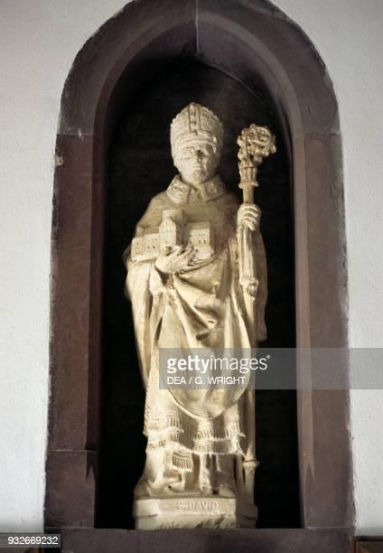 Statue of St David St David's Cathedral Saint David's Wales United Kingdom 6th century