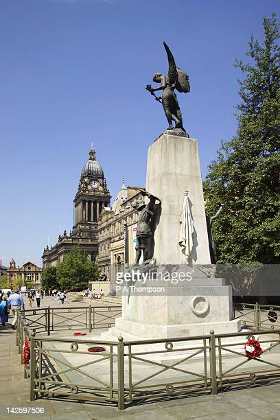 statue of st george, leeds town hall and art gallery, yorkshire, england - leeds city centre stock photos and pictures
