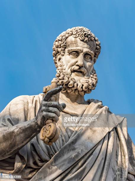 Statue of St. Peter holding the key at Piazza San Pietro, Vatican, Rome, Italy.