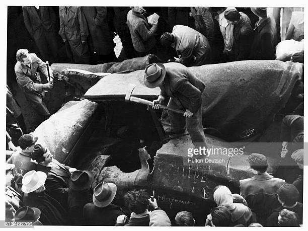Statue Of Stalin Is Chopped Up The scene as the huge statue of Stalin is chopped to pieces near the [National Theatre] Budapest at the height of the...