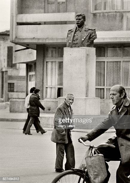 A statue of Stalin overlooking the centre of town in Korce Albania practiced a militant form of Communism withstanding the reforms of other Eastern...