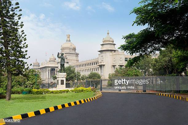 Statue of Subhas Chandra Bose in front of a government building, Vidhana Soudha, Bangalore, Karnataka, India