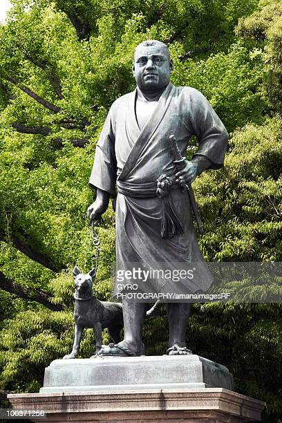 statue of takamori saigo in ueno park, tokyo prefecture, japan - ueno park stock photos and pictures