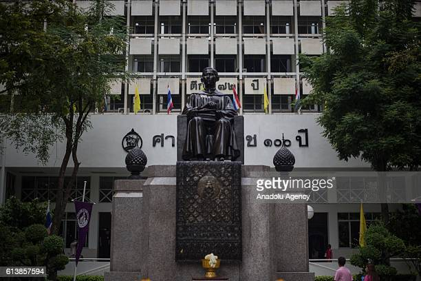 Statue of Thailand's King Bhumibol Adulyadej front of Siriraj Hospital as his health has deteriorated and he's now in an unstable condition under...