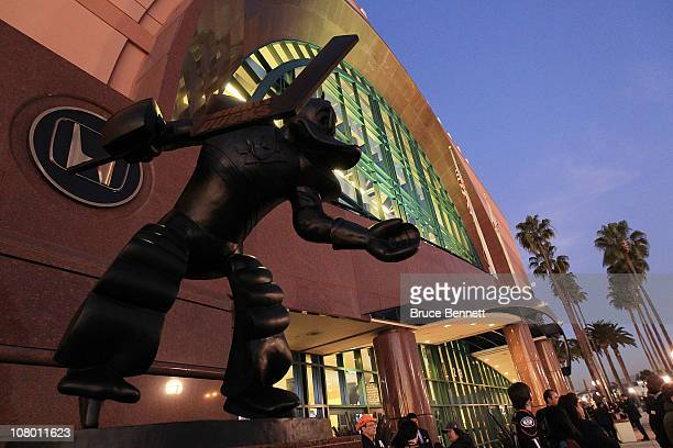 A statue of the Anaheim Ducks mascot Wild Wing stands in front of the Honda Center prior to the game between the Ducks and the St Louis Blues on...
