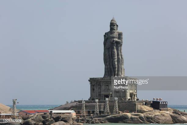 Statue of the ancient Tamil poet Thiruvalluvar seen on a small island in the ocean in Kanyakumari, Tamil Nadu, India.