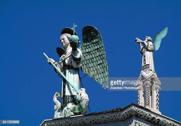 Statue of the Archangel Michael on San Michele in Foro