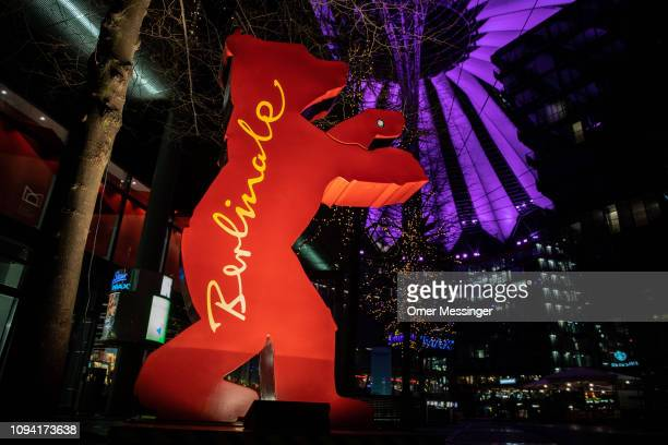 A statue of the Berlinale logo stands outside the Arkaden mall near Potsdamer Platz prior to the 69th Berlinale International Film Festival on...