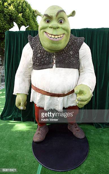 "Statue of the character Shrek at the Los Angeles premiere of the Dreamworks Pictures' film ""Shrek 2"" at the Mann Village Theatre May 8, 2004 in..."