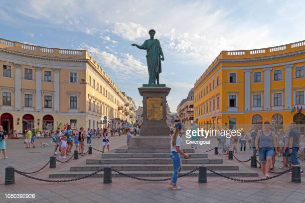 statue of the duc de richelieu in odessa - odessa ukraine stock photos and pictures
