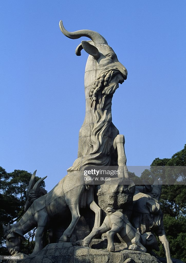 Statue Of Five Goats Symbol Of Guangzhou Pictures Getty Images