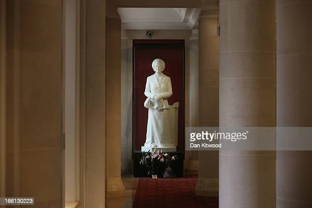 A statue of the former British Prime Minister Baroness Margaret Thatcher stands in the Guildhall Art Gallery on April 9 2013 in London England Lord...