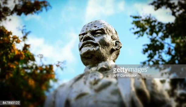 A statue of the founder of the Soviet Union Vladimir Lenin is seen in the town of Chekhov some 65 km outside Moscow on September 16 2017 This year...