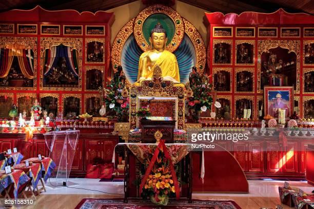 Statue of the Gautama Buddha in the main prayer hall of the Karma Tekchen Zabsal Ling Toronto Thrangu Centre in Aurora Ontario Canada on June 8 2017