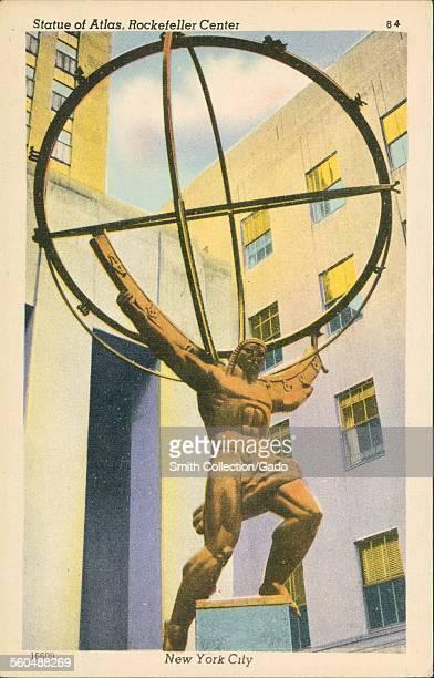 Statue of the god Atlas holding up the world, Rockefeller Center, New York City, New York, 1930.