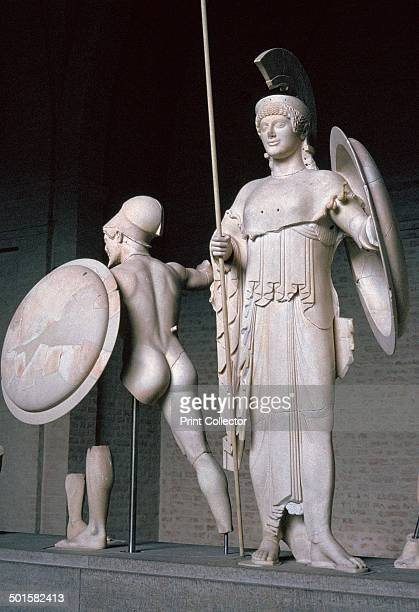Statue of the Greek goddess Athena from the west pediment of the temple of Aphaia at Aegina 6th century BC