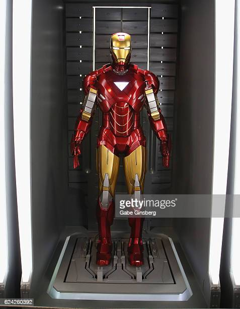 A statue of the Iron Man suit on display at Marvel Avengers STATION at the Treasure Island Hotel Casino on November 18 2016 in Las Vegas Nevada