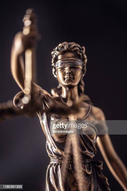 statue of the lady of justice with scales close-up. - lady justice stock pictures, royalty-free photos & images