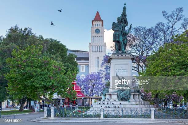 statue of the marquis sá da bandeira in lisbon - gwengoat stock pictures, royalty-free photos & images