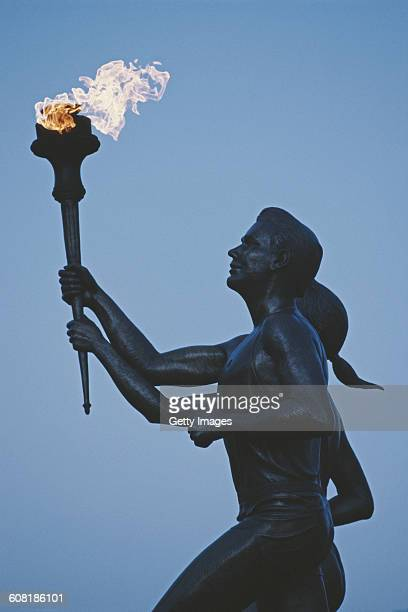 Statue of the Olympic Flame torch bearers on 1 Jan 1990 at the United States Olympic Committee Training Centre in Colorado Springs United States