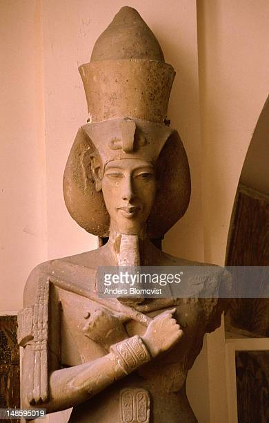 Statue of the pharaoh Akhenaten (also known as Amenophis IV) the revolutionary leader of the 18th dynasty of ancient Egypt, husband of Nefertiti and father of Tutankhamun. On display at the Egyptian Museum.