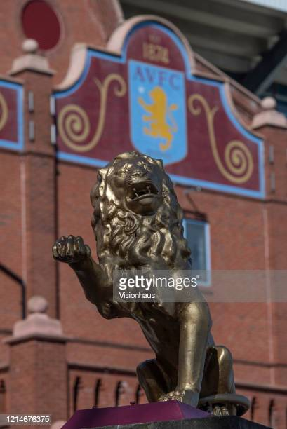 Statue of the Rampant Lion of Scotland the hallmark on the club crest outside the Holte End of Villa Park home of Aston Villa FC on March 23 2020 in...
