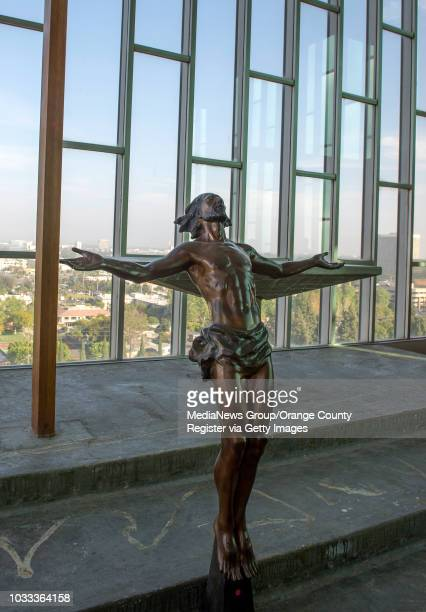 A statue of the Risen Christ in the Chapel in the Sky on the top floor of the 13story Tower of Hope at Christ Cathedral formerly Crystal Cathedral...