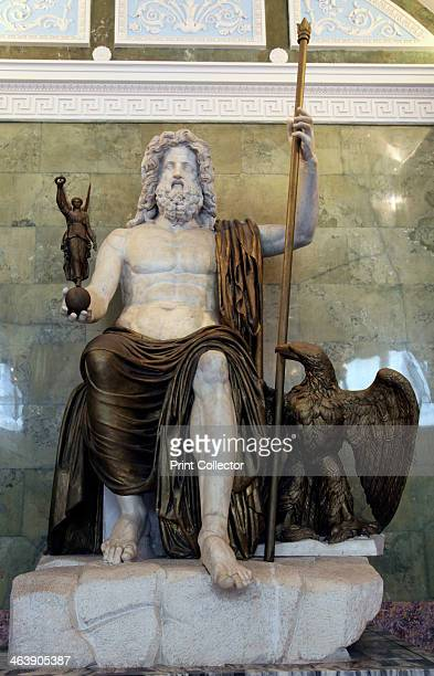Statue of the Roman God Jupiter late 1st century The drapings sceptre eagle and Victory are made of painted plaster and date from the 19th century...