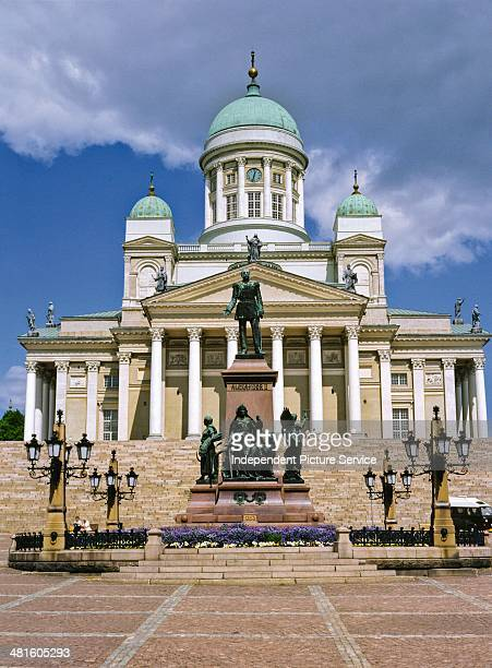Statue of the Russian Czar Alexander the II and the Helsinki Lutheran Cathedral Finland