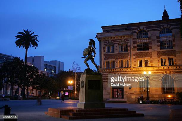 Statue of the school mascot, the Trojan, stands on the campus of the University of Southern California on March 6, 2007 in Los Angeles, California. A...