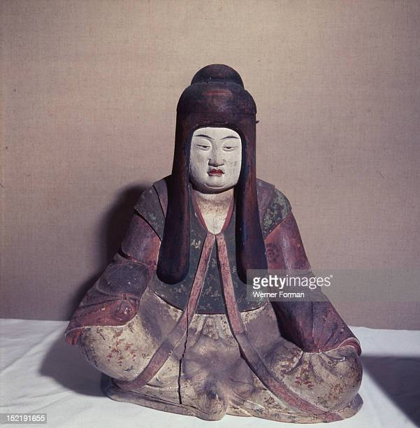 Statue of the Shinto goddess Nakatsu Hime Zo wearing the robes of a court lady Princess Nakatsu consort of Emperor Ojin became an incarnation of the...