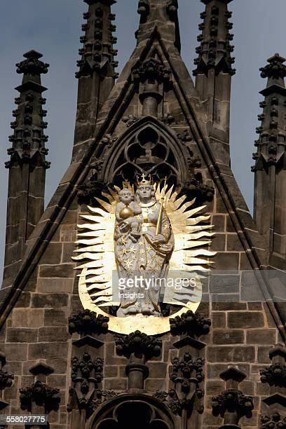 Statue Of The Virgin And Child On The Facade Of The Church Of Our Lady Before Tyn Prague Czech Republic