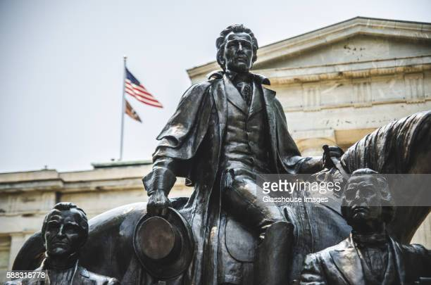 statue of three u.s. presidents, state capital building, raleigh, north carolina, usa - north carolina us state stock pictures, royalty-free photos & images
