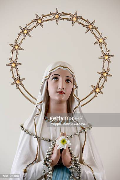 statue of virgin mary with halo of stars - la vierge marie photos et images de collection