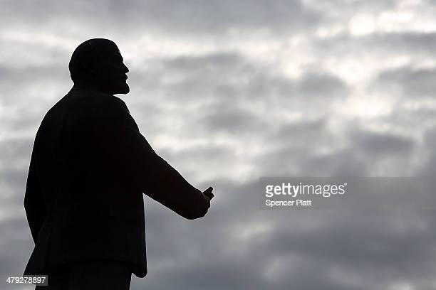 A statue of Vladimir Ilyich Lenin is seen on March 17 2014 in Simferopol Ukraine Voters on the autonomous Ukrainian peninsular of Crimea voted...